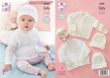 King Cole 5584 Knitting Pattern Baby Raglan Cardigan and Hat in Big Value Baby 3 Ply